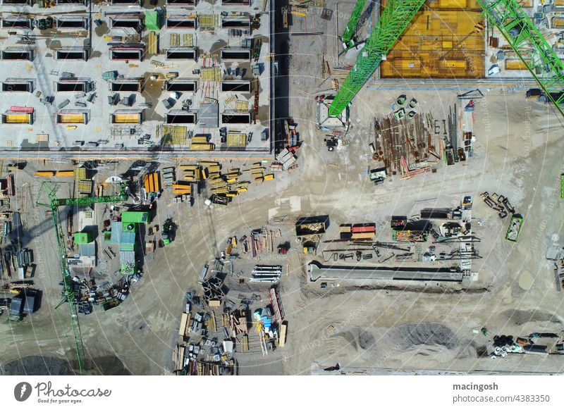 Bird's eye view of the construction site Construction site Architecture Manmade structures Exterior shot Deserted Colour photo Craft (trade) building trade