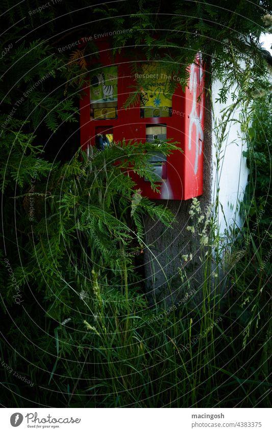 Old gumball machine Chewing gum Gumball machine Vending machine Exterior shot Candy Nostalgia Retro Memory Red Former Deserted Broken overgrown Shabby