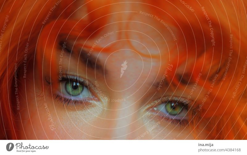 green eyes and orange curly hair Green Eye colour Orange Red-haired redhead natural hair colour Clown Curl hairstyle bedhairday moment look see Think Alluring