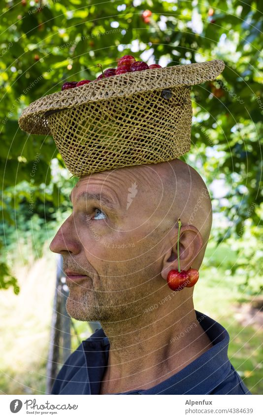 Cherry man with cherry earring | Parktour HH 21 Man Only one man portrait cherries Face of a man Earring 1 Person Adults Human being eat cherries Facial hair