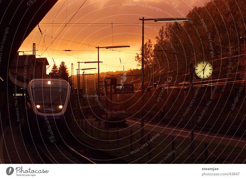 Clock Transport Railroad Train station Talented Platform Paderborn district Altenbeken Altenbekener Strecke Ski-run