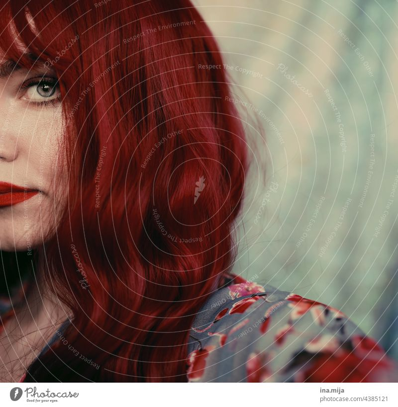 half face of redhead woman with forehead fringes Red Red-haired Long-haired Hair and hairstyles Eyes moment Looking Face Woman Feminine portrait Human being