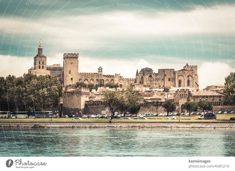 City of Avignon, Provence, France, Europe avignon city castle palace tower river Rhone france landmark fortress wall ancient cathedral arcade architecture