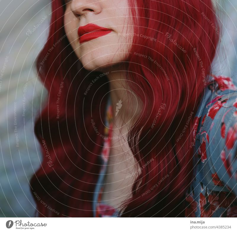 Woman with red lipstick and red long hair Red-haired Lips Lipstick readhead redhead Long-haired Hair and hairstyles pretty portrait red hair Feminine Curl