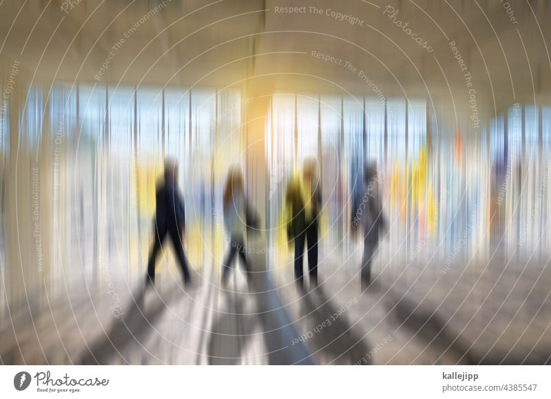 moving ways people Movement Window Bright variegated Business Modern Light Human being City urban Facade Adults Exterior shot Reflection Street Design Abstract