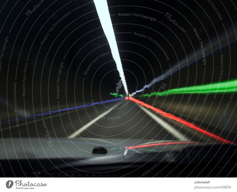 electric tunnel Tunnel Motion blur Red Green Windscreen wiper Emergency exit Transport Black & white photo