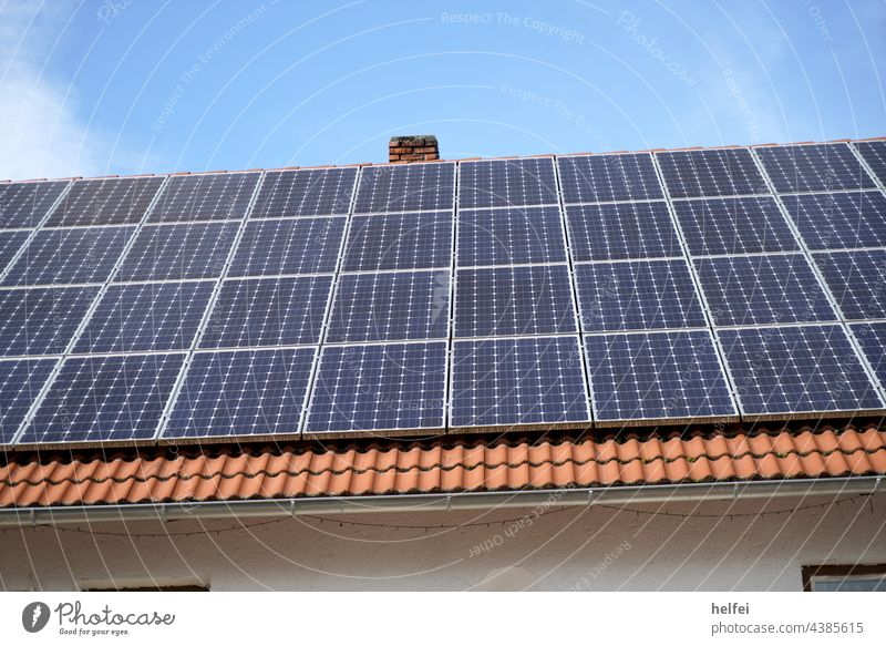Photovoltaic panels mounted on house roof for solar power generation photovoltaics photovoltaic system Solar Energy Solar cells Solar Power Innovative