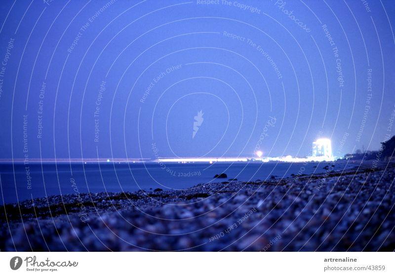 light ferry Long exposure Night Horizon Beach Light Navigation Water