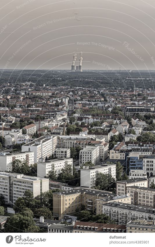 View of Leipzig with power station in the background Above Vantage point Tower Town houses Exterior shot Architecture Saxony Copy Space top Building Facade