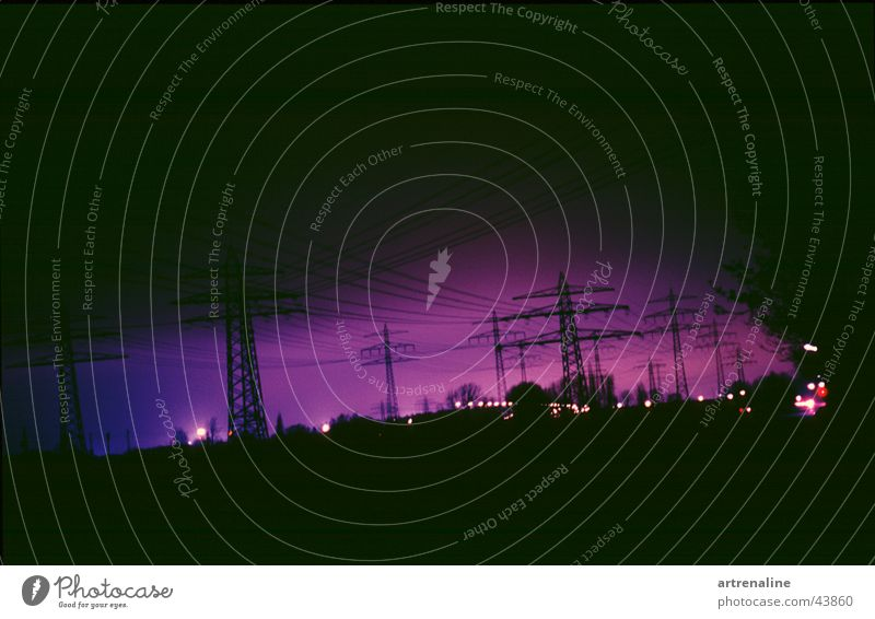 crackle Electronic Horizon Night Long exposure Lamp Industry Electricity Electricity pylon Morning