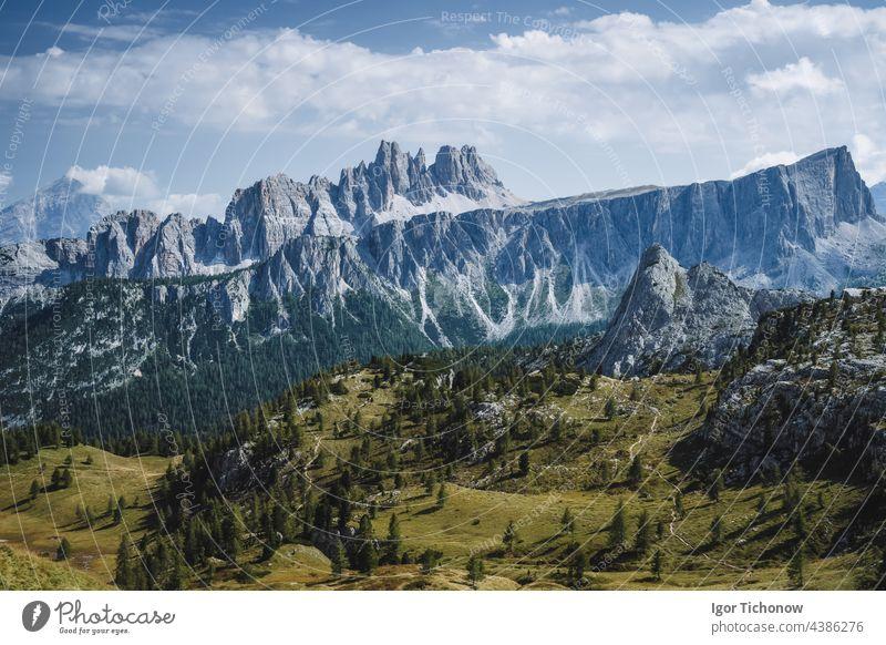 View over Passo di Giau Mountains, Croda da Lago, Formin of Europe Alps, Dolomites, Italy italy dolomites aerial view europe mountains alps formin rifugio lago
