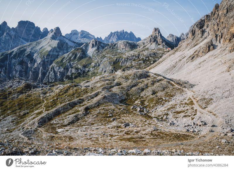 Incredible Nature Landscape around famous Tre Cime di Lavaredo. Rifugio Antonio Locatelli alpine hut popular travel destination in the Dolomites, Italy nature