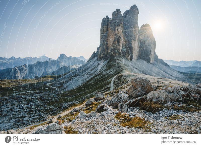 Summer sunrise at Tre Cime di Lavaredo in the Dolomites national park, Italy summer dolomites italy cime tre landscape mountain nature peak rock scenery travel