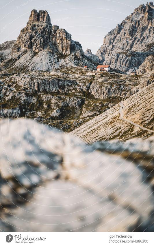 Dreizinnenhuette - Rifugio Antonio Locatelli close to Tre Cime di Lavaredo, Dolomites, South Tyrol, Italy famous nature mountain landscape alpine travel