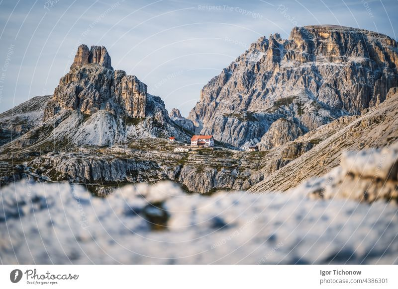Dreizinnenhuette - Rifugio Antonio Locatelli close to Tre Cime di Lavaredo, Dolomites, South Tyrol, Italy famous nature mountain sunset landscape alpine travel