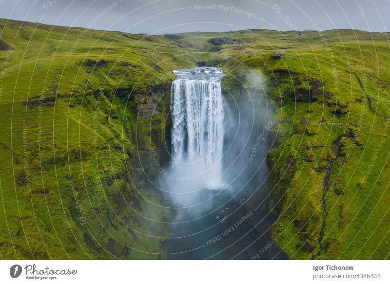Iceland. Aerial view on the Skogafoss waterfall. Landscape in the Iceland from air. Famous place in Iceland. Landscape from drone. Travel concept iceland