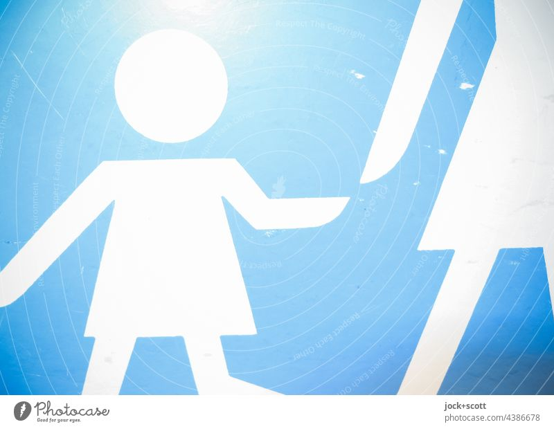 Traffic sign pedestrian way, adult with child in detail Pedestrian Road sign Silhouette Neutral Background Simple Traffic infrastructure Pictogram Detail