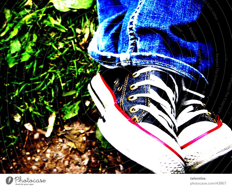 sitting down here Footwear Meadow Grass Green Pants Photographic technology Jeans Blue Sit Legs
