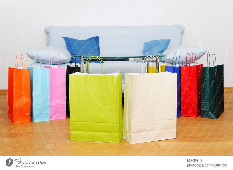 Color shopping bags Paper bag colored purchasing variegated Sofa Parquet floor Consumption