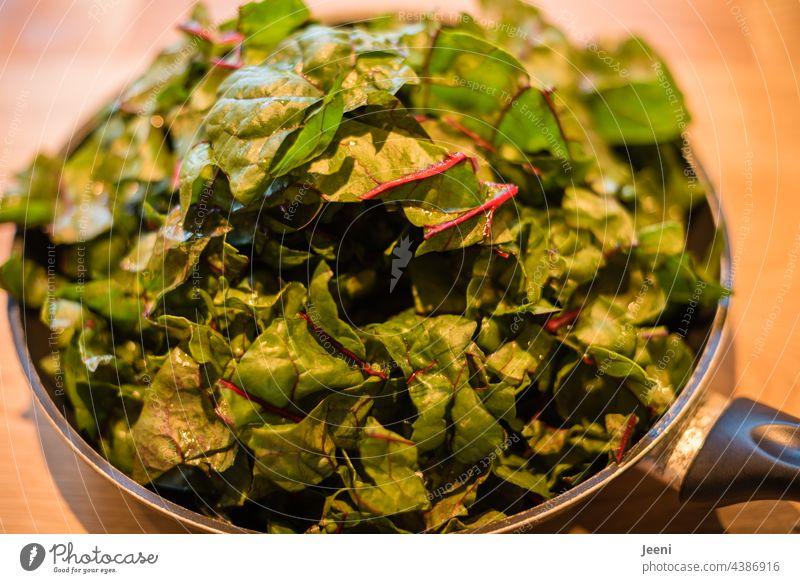 Delicious and healthy - a pan full of chard Mangold Vegetable Fresh Vegetarian diet vegetarian Vegan diet more vegan Garden Eating To enjoy enjoyment delightful