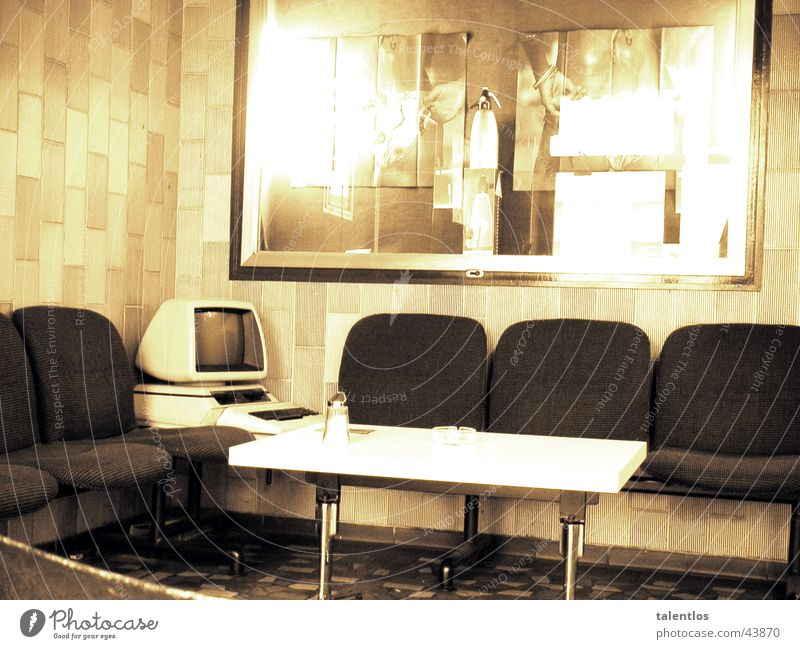 café del retro II Café Retro Foyer Computer Sepia Coffee table Lounges Screen Tile Reflection Seat Sugar caster Deserted Uninhabited