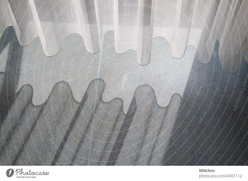 Curtain curtain with wavy shadows on the floor Footwear Drape Shadow Light Sunlight Window Interior shot Living or residing Calm Flat (apartment) Balcony