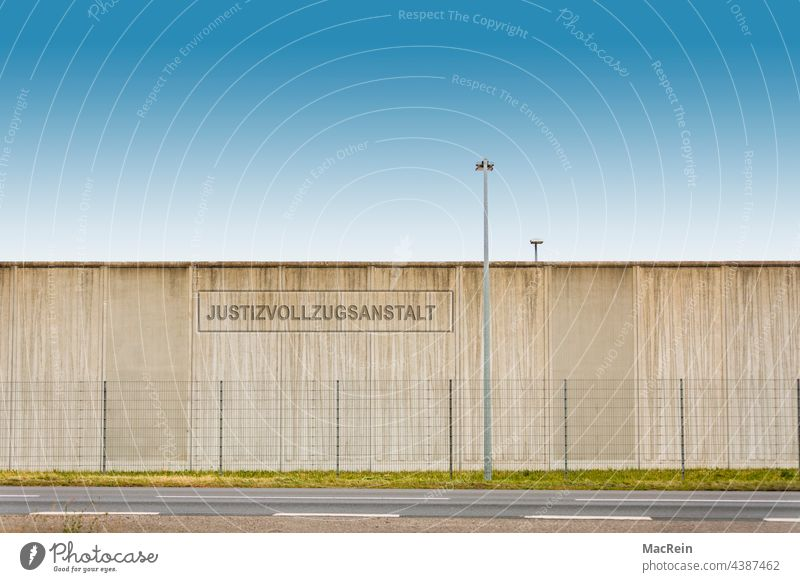 prison wall Exterior shot cordon Wire fence penned jail Haft Prison Penitentiary no man Lantern Wall (barrier) nobody Street Copy Space