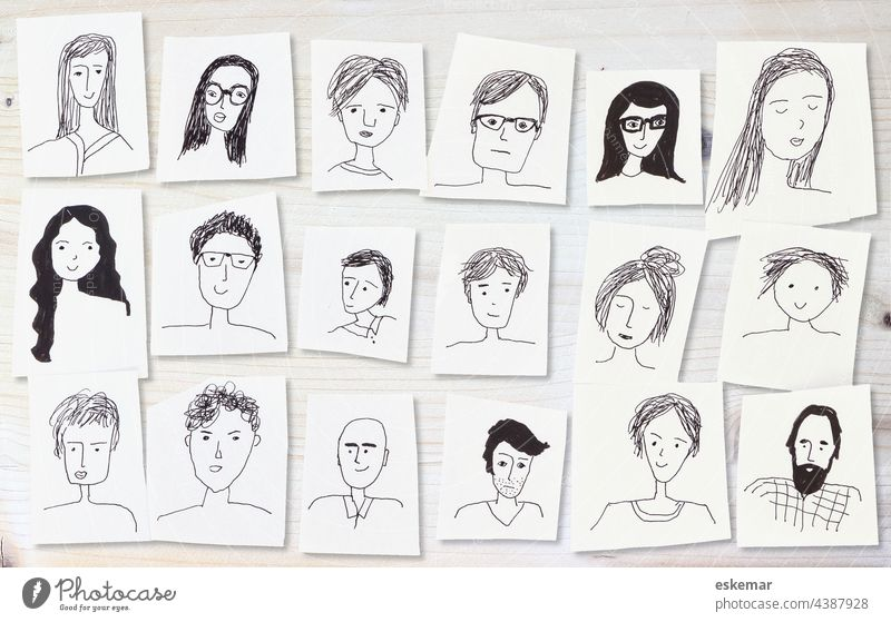 faces Face people Woman Man Many Earmarked Drawing Art Copy Space background White whiter women portrait portraits Funny Drawings Human being group Friends