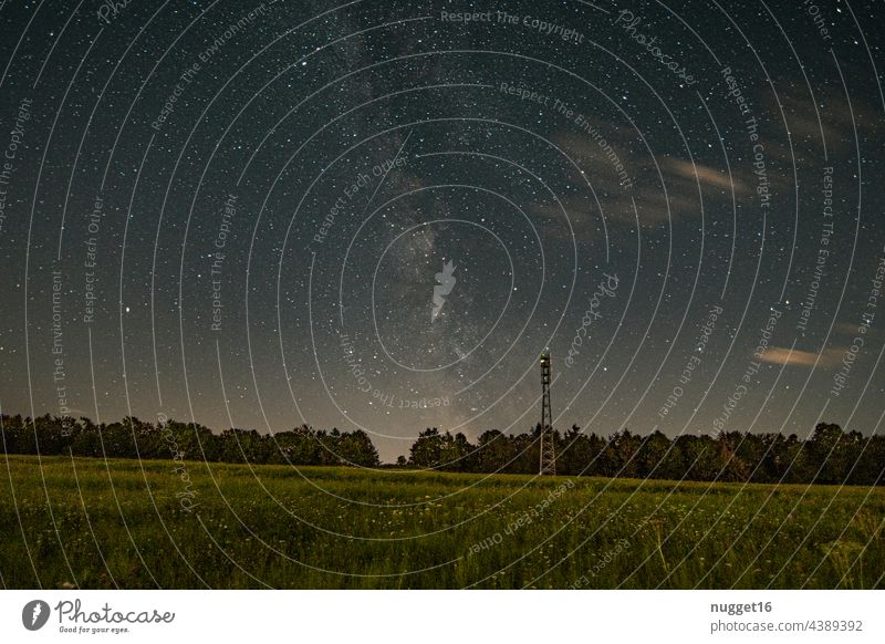 Milky Way, Venus and meteor over a forest Milky way Meteor Night Sky Night sky Exterior shot Colour photo Constellation Astronomy clearer in the sky stars