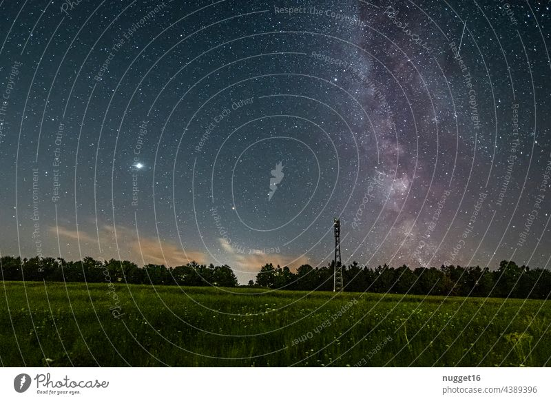Milky Way, Venus and meteor over a forest Milky way Night Stars Exterior shot Sky Night sky Colour photo Deserted Landscape Long exposure Nature Universe Galaxy
