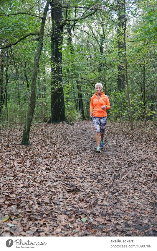 Senior woman in sportswear jogging through the forest Senior citizen Jogging Jogger Walking Forest Sports Sportswear active Fitness Healthy Athletic Lifestyle