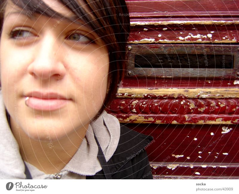 at the postbox Piercing Mailbox Woman