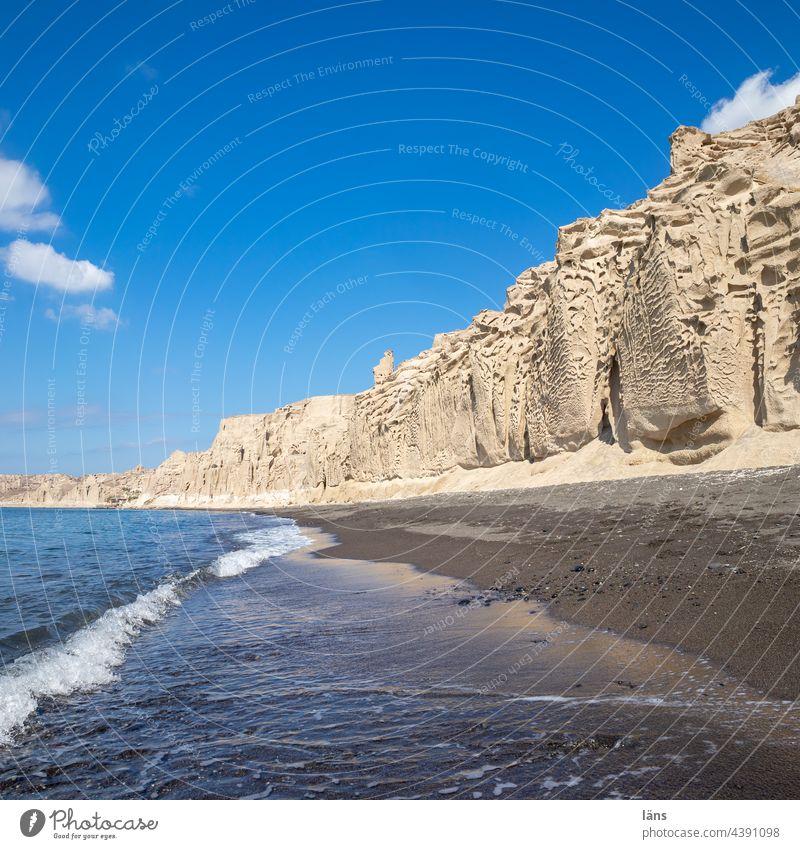 Santorini Beach | White Beach Ocean Vacation & Travel Greece Island Mediterranean sea Cyclades Deserted Beautiful weather Colour photo