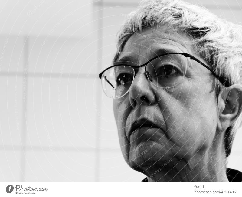 Old woman with water drops on glasses portrait Eyeglasses Face tiles gray hair Amazed Exasperated crease Androgynous Facial expression Head