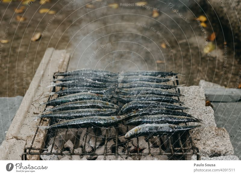 Grilling sardines Portugal Sardine Fish grilled grilling BBQ BBQ season Summer Omega 3 fatty acid Barbecue area Fire Colour photo Food Nutrition Hot