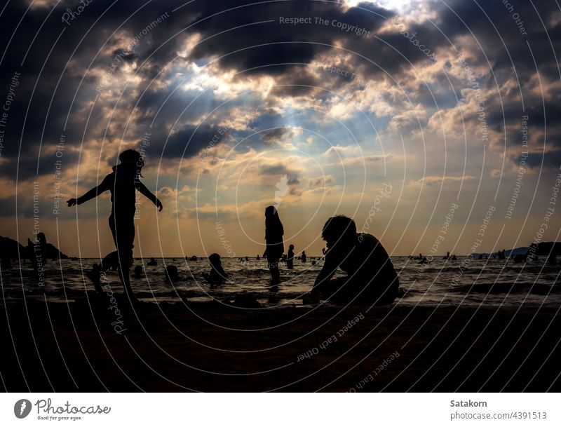 Silhouettes of people playing in the sea at a public beach silhouette landscape sky sand evening vacation sun sunset summer young ocean water nature sunlight