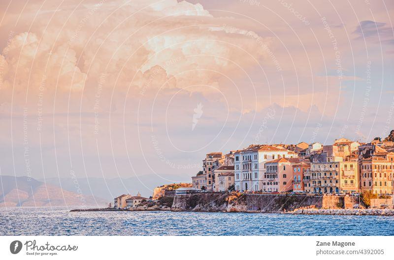 Corfu town at sunset, Greece corfu greece landscape travel Greek corfu island corfu town coast