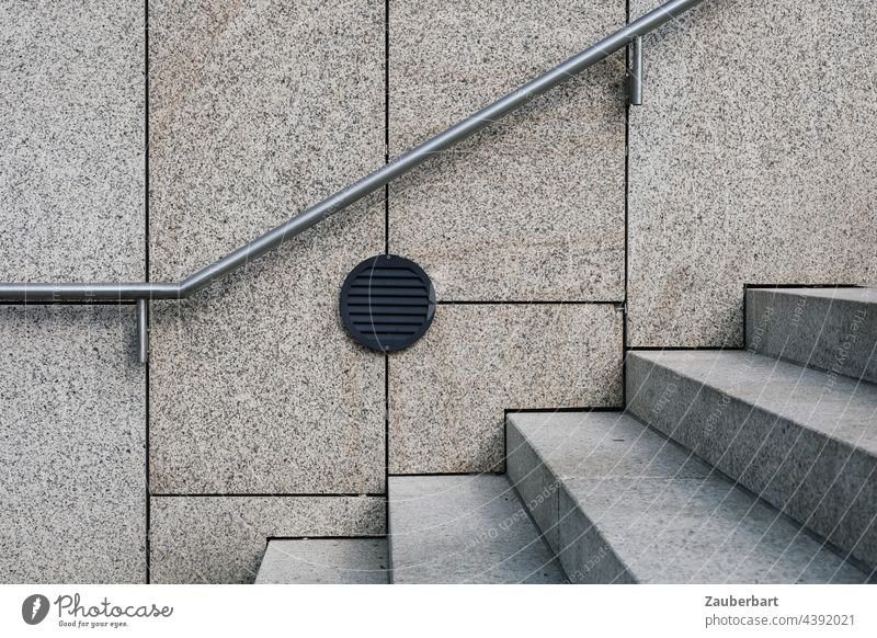 Modern staircase with handrail in front of facade as geometric shape Stairs Abstract Architecture Banister Upward Wall (building) Wall (barrier)