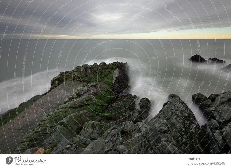 Sky Green Water White Ocean Landscape Clouds Autumn Coast Gray Rock Horizon Weather Waves Elements Bad weather