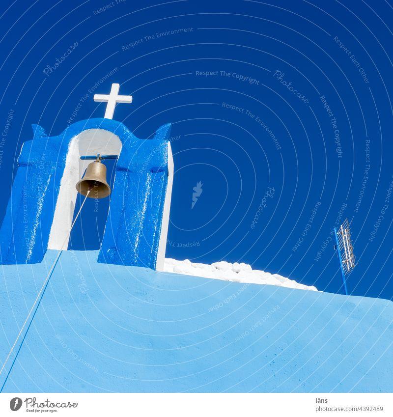 Greek theory of colours l Church on Santorini Crucifix Greece Bell Antenna Blue White Sky Christian religion Religion and faith Island Deserted