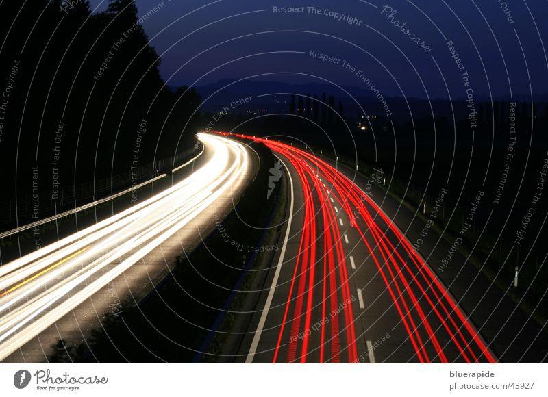 night traffic Red White Black Transport Highway Fairy lights Night Dark Speed Long exposure Blue vehicles Light Line Street Sky