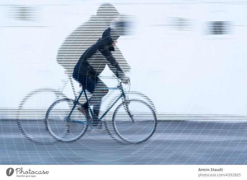 stripes image, movement of a cyclist with black jacket on white background bike bicycle look cropped speed double exposure outdoors wall street road tire sport