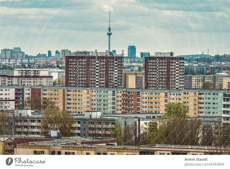 Sea of houses, section of a housing estate in Berlin-Marzahn with tv tower aerial ahrensfelde apartments architecture berlin building buildings cities city