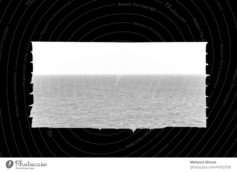 Window with the view on a sea, freedom concept. Architecture and nature, black and white, seascape, dreamlike. Sea water surface, Minimalistic Seascapes.