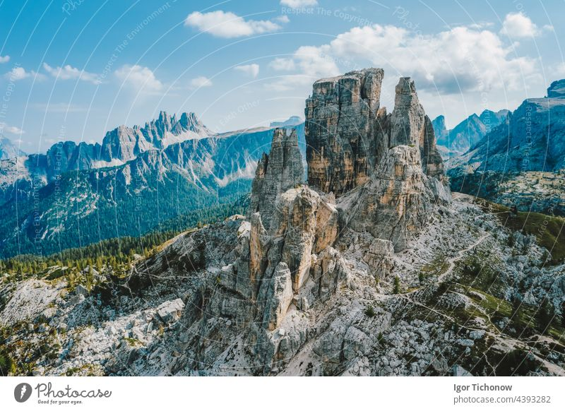 Aerial view of Cinque Torri in Dolomites mountains in Italy. Epic landscape on a sunny day of summer alps italy dolomite croda falzarego lago pass di aerial