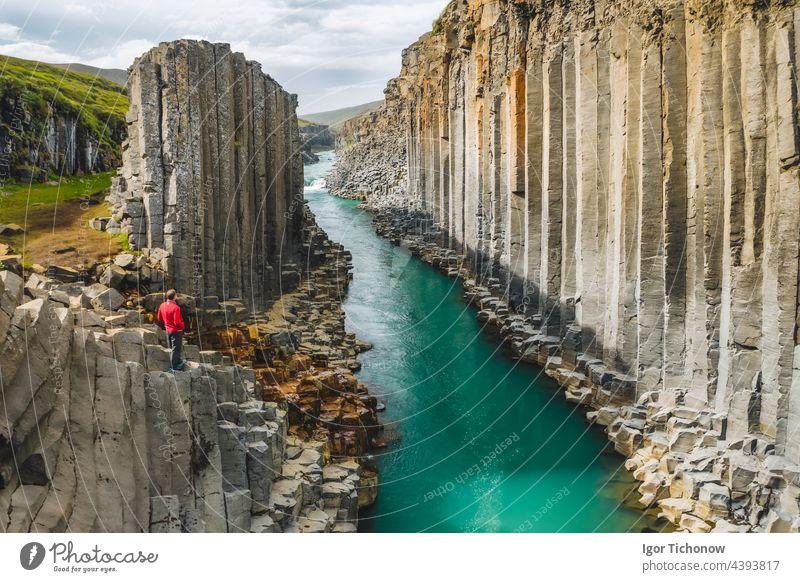 Man hiker in red jacket visit Studlagil basalt canyon, with rare volcanic basalt column formations, Iceland iceland man studlagil landscape cliff scenery rock