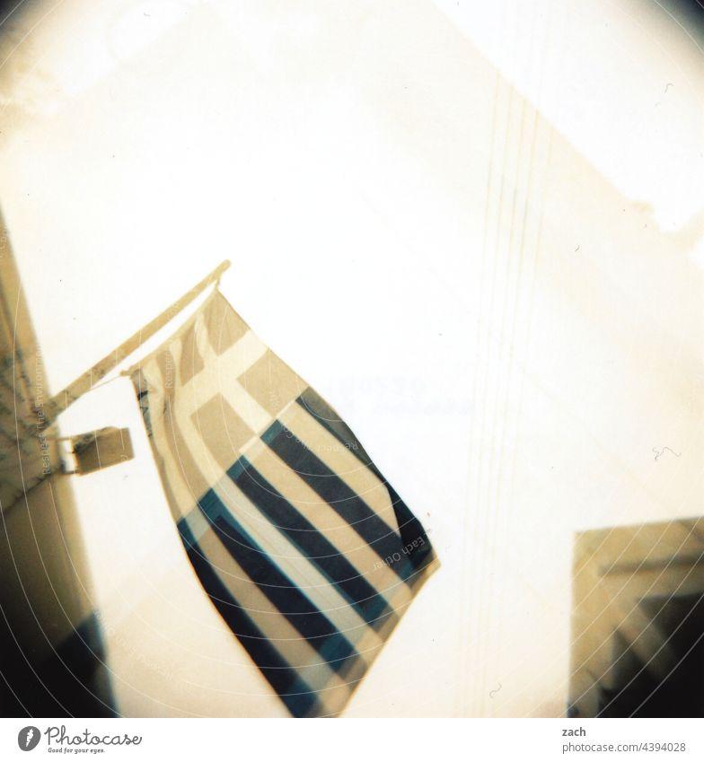 fly the flag Analog Slide Holga Lomography Scan Cross processing cross Experimental House (Residential Structure) Greece Greek Flag White Blue