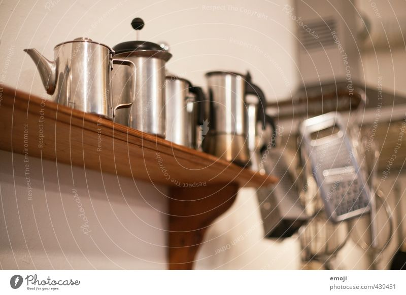 silver Kitchen Manual cooking appliances Coffee pot Shelves High-grade steel Metalware Old Esthetic Colour photo Subdued colour Interior shot Deserted