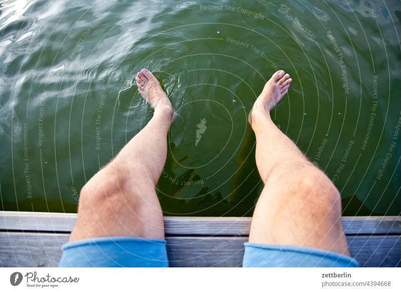 Feet in the Mellensee Trip boat Relaxation holidays Rafts River Channel Landscape Nature ship Navigation Lake Summer Sports Pond bank vacation Water