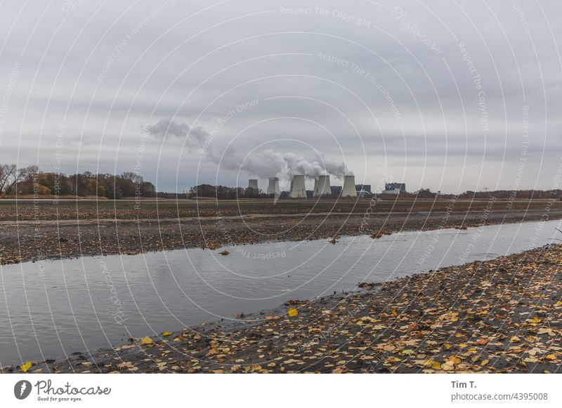 a lignite-fired power plant in the fall Environmental protection Lignite Lausitz forest Autumn Cooling towers Energy industry Industry Clouds Coal power station